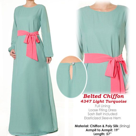 Chiffon Abaya Muslim Islamic Long Sleeves Maxi by MissMode21, $32.00 FREE SHIPPING WORLDWIDE