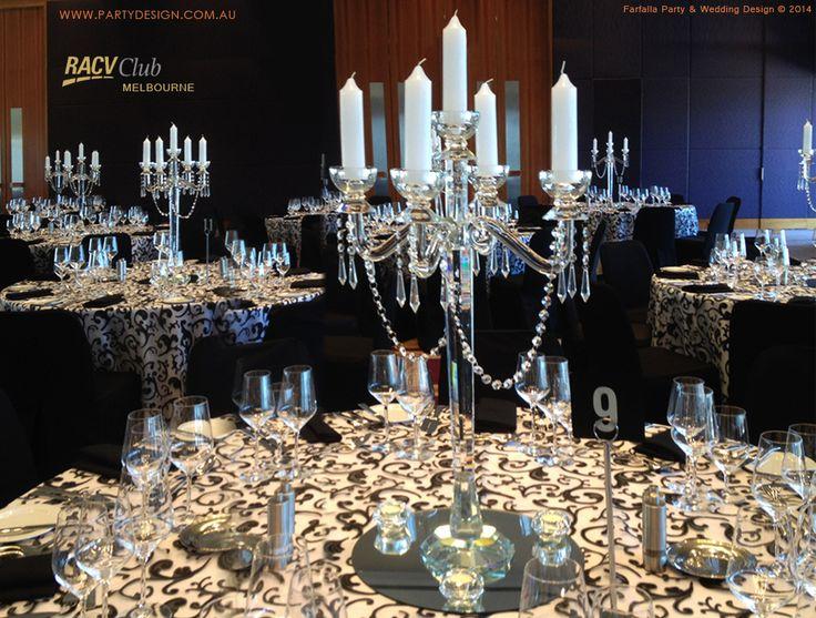 Crystal Candelabra for wedding by Farfalla Party & Wedding Design  http://partydesign.com.au/centerpieces/