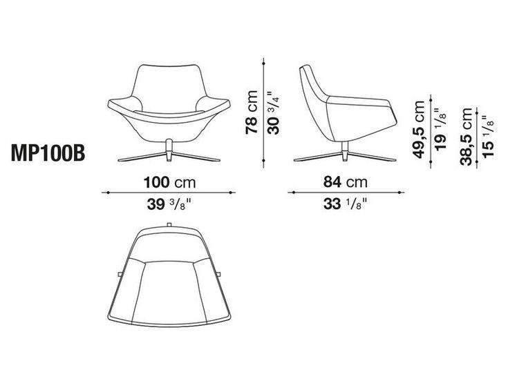 Poltrona giratória estofada de 4 raios de tecido METROPOLITAN '14 Coleção Metropolitan by B