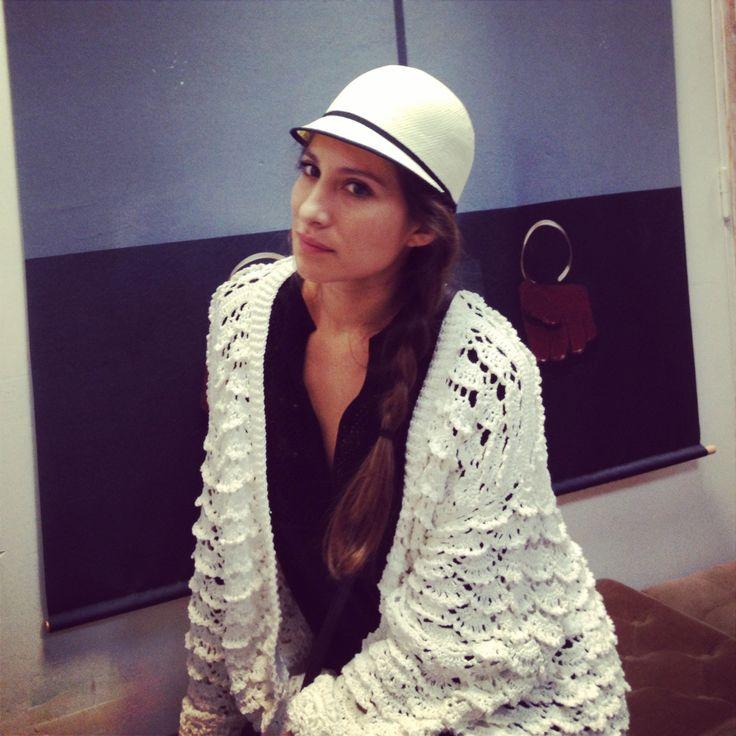 Cinthya's wearing Emmanuelle Khanh hat with a Stella Pardo crochet oversized cardigan
