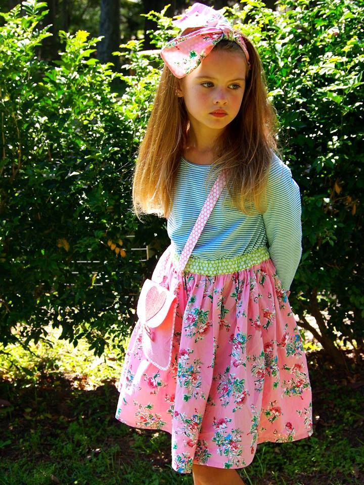 Divine Miss Sienna in the Harper Pink Painted Floral Dress