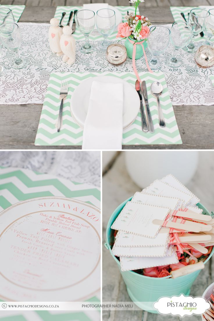Order of service fans and paper place mats in mint green and coral