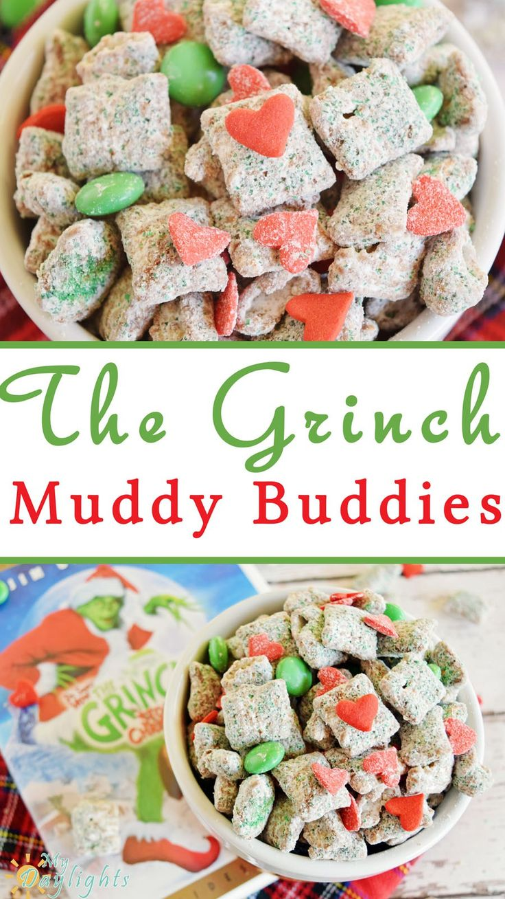 The Grinch Muddy Buddies are a fun snack to munch on while watching your favorite Christmas movies! And don't forget the big hearts because The Grinch changes his in the end!