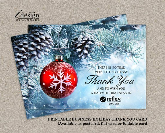 Business Holiday Cards Printable Christmas Thank You Cards With Logo Corporte Printable Holiday Card Corporate Christmas Cards Business Christmas Greetings