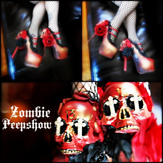 Sugar Skull Muerto Day of the Dead Heels by kaylastojek on Etsy