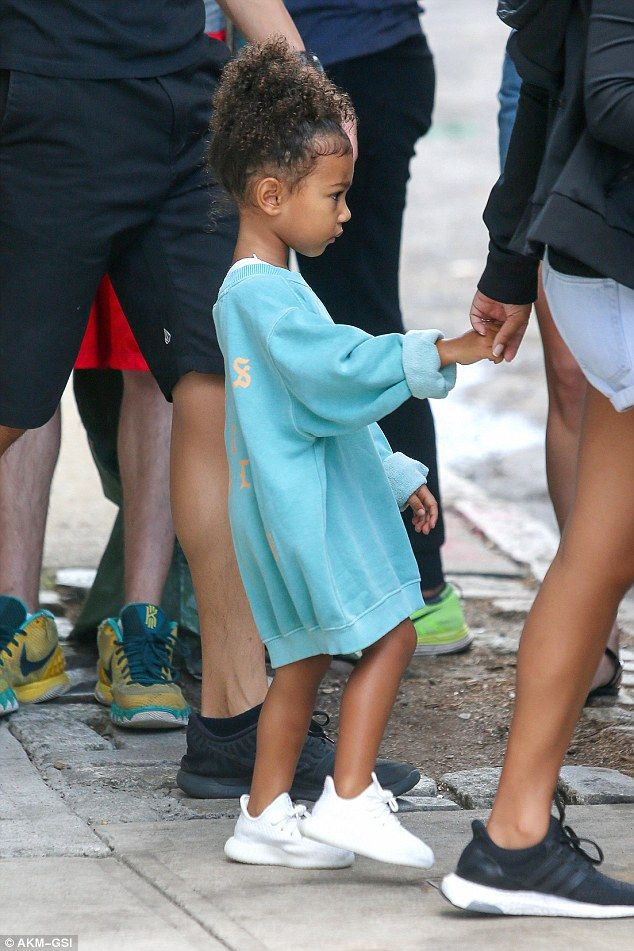 Little fashionista: North, three-years-old, and Saint, 10-months-old, were seen stepping out in New York City on Wednesday