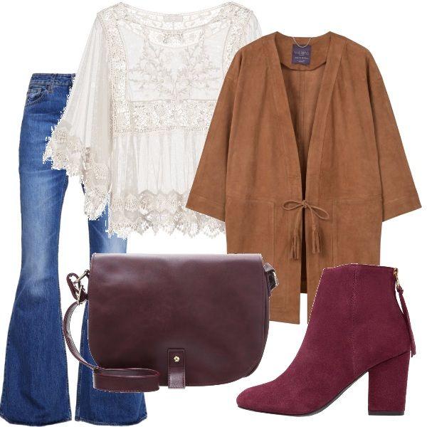 Questo outfit è dedicato a tutte coloro che amano ricordare lo stile degli anni 70. Ai jeans a zampa ho abbinato una blusa bianca in pizzo e un cappottino in simil nappa. Per quanto riguarda gli accessori, propongo un paio di tronchetti con tacco largo e chiusura sul retro color melanzana e una borsa a tracolla bordeaux.