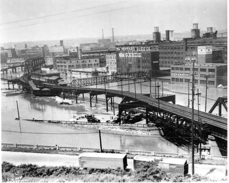 A northwest view of West Bottoms near 8th Street 1951
