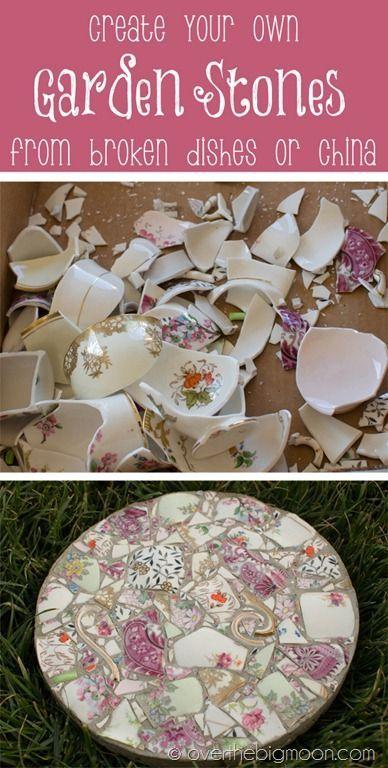 Des pas de jardin faits à partir de vaisselle ancienne