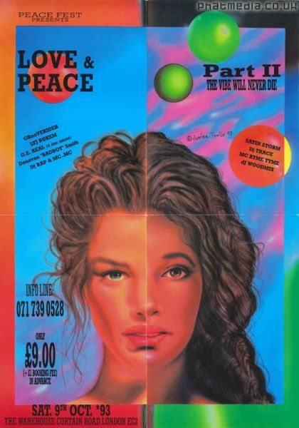 Peace Fest 1993 Love & Peace A2 Poster original artwork by Junior Tomlin #raveflyers #phatmedia