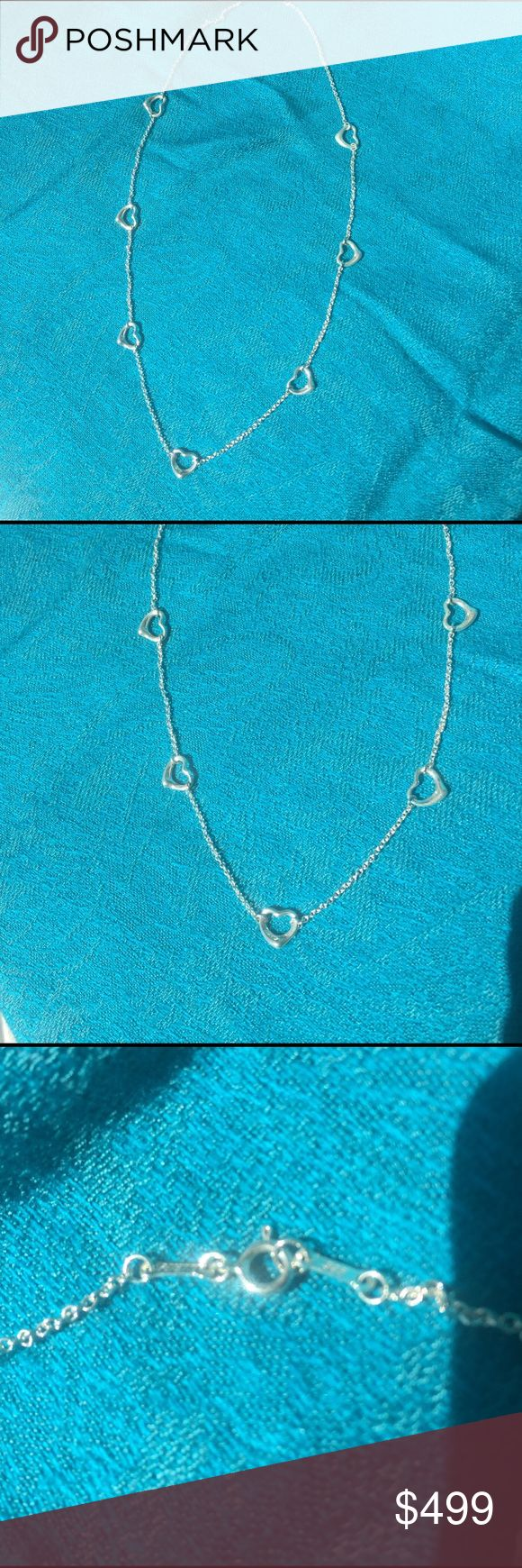 "💍Tiffany & Co. RARE Peretti 7 Open Heart Necklace Auth Tiffany & Co. RARE Elsa Peretti 7 Open Heart Necklace. Approx 19"" Marked Peretii, 925, Spain, Tiffany & Co. Circa 1990's ✨NO BUNDLE OPTION - NO 🅿️ay🅿️al ACCEPTING REASONABLE OFFERS😊 Tiffany & Co. Jewelry Necklaces"