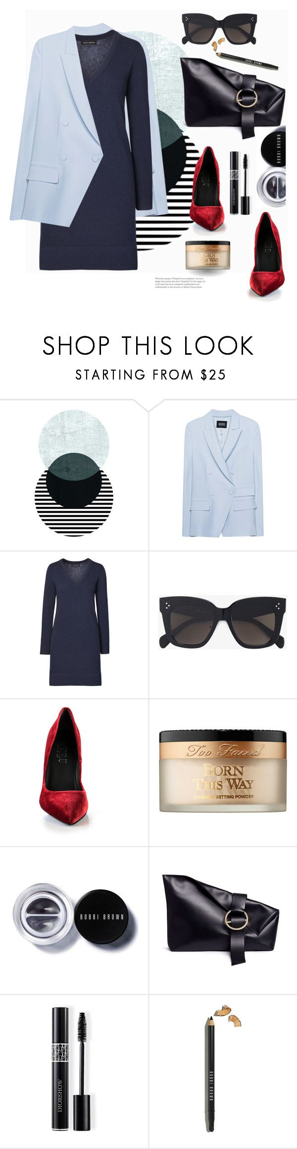 """""""don't go all matchy-matchy!"""" by gabrielleleroy ❤ liked on Polyvore featuring SLY 010, CÉLINE, Loriblu, Too Faced Cosmetics, Bobbi Brown Cosmetics, Liebeskind and Christian Dior"""