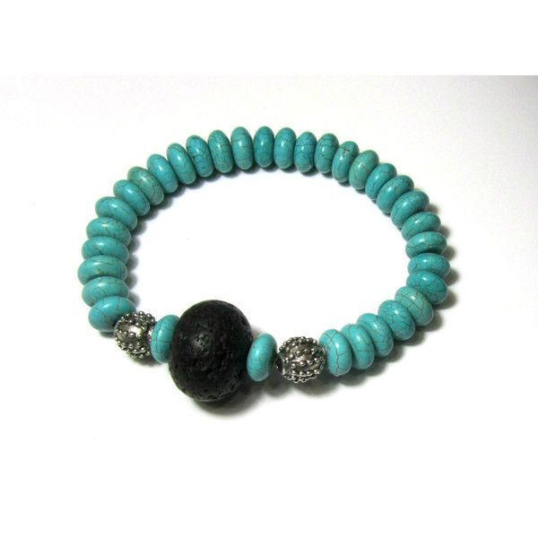 Turquoise Bracelet Santorini Volcanic Lava rock Magnesite Natural Eco Friendly Organic Greek Jewelry Gift For Her (€15) found on Polyvore