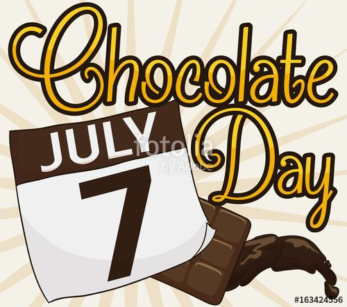 Chocolate in Candy Bar, Liquid and Calendar for Chocolate Day