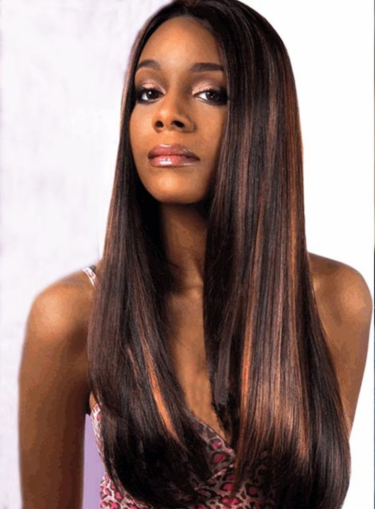 Long Natural Straight Lace Front Synthetic Wig For Black