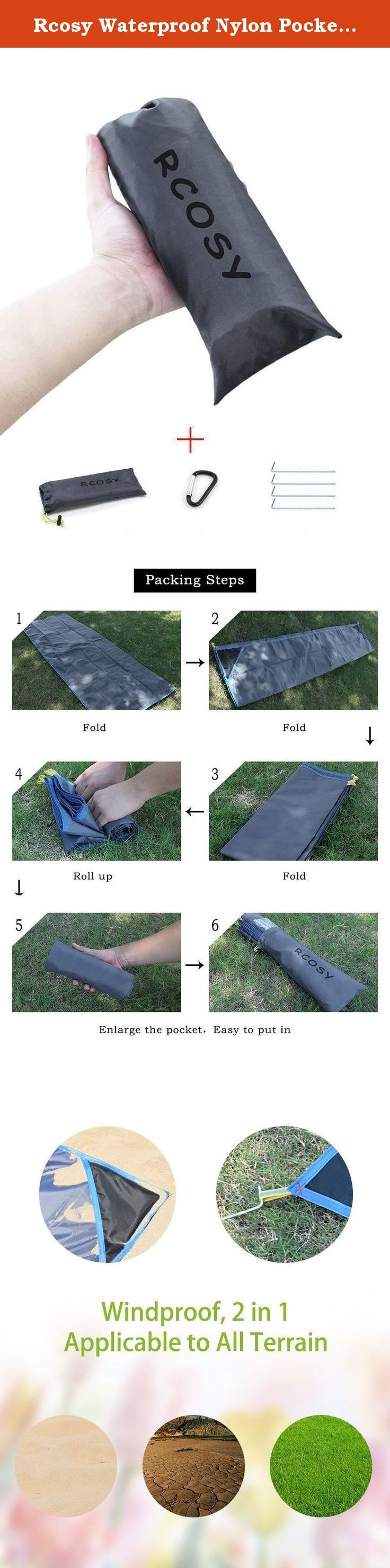 """Rcosy Waterproof Nylon Pocket Blankets with Carabiner, 79 X 59-Inch. ========== Product Description ========== Details: Materials: This Beach Blanket is made of 100% lightweight polyester. Hand wash with mild soap, then hang to dry. Size: 79"""" X 59"""". Our Beach Blankets fit 4 to 6 people sitting, or 2 lying down. Easy to maintain: You can throw this Pocket Beach Blanket into your bag, or just leave it in your car for those unexpected moments when you might need it. Pack: Our Lightweight..."""