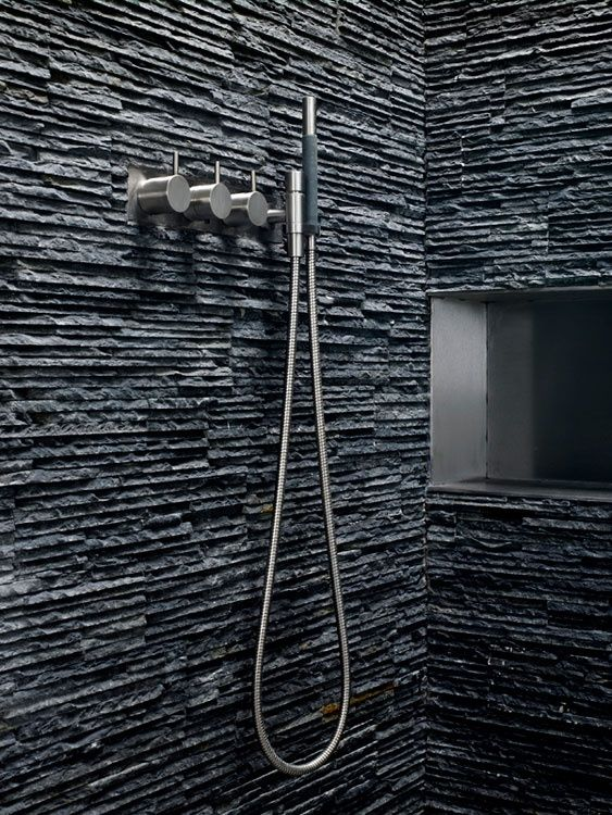 Bathroom Designs with Natural Stone. Our new shower! Right babe? Right? Hello?