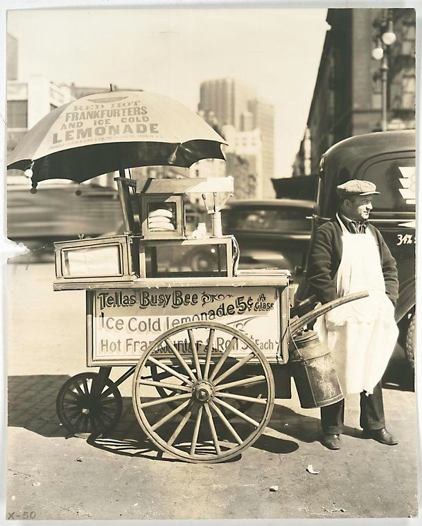 Hot Dog Stand, West St. and North Moore, Manhattan. (April 08, 1936) by Bernice AbbottNorth Moore, Food Carts, Vintage Photos, Hotdog, Manhattan, Berenice Abbott, Nyc, Hot Dogs Stands, New York
