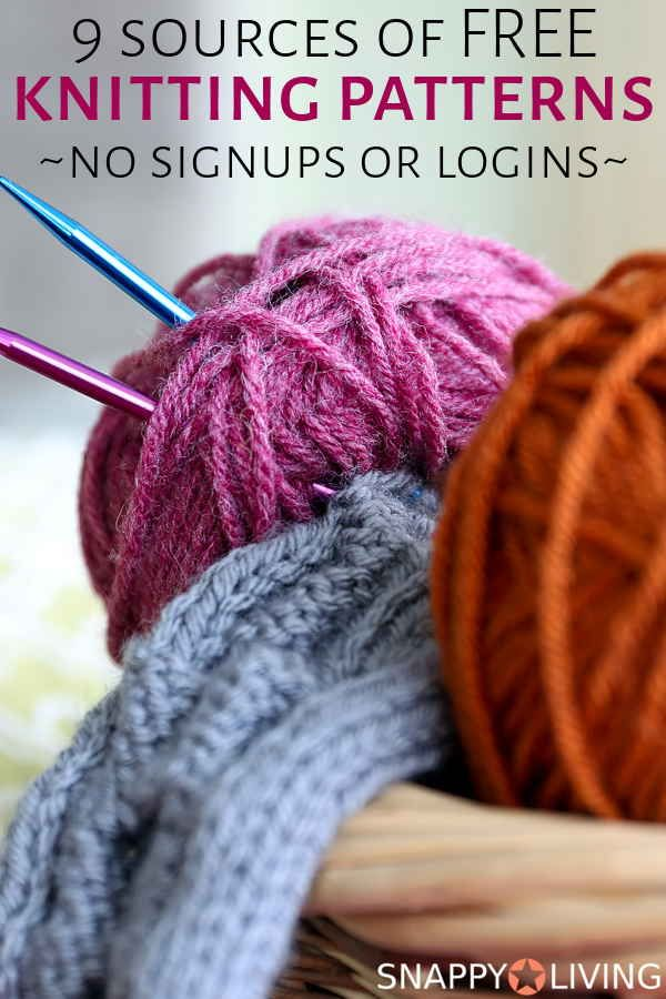 Finding free knitting patterns online can be a hassle, but I've found these 8 websites that offer really good free knitting patterns, with no logins or signups required. Just go get yer free patterns. #knitting #crafts