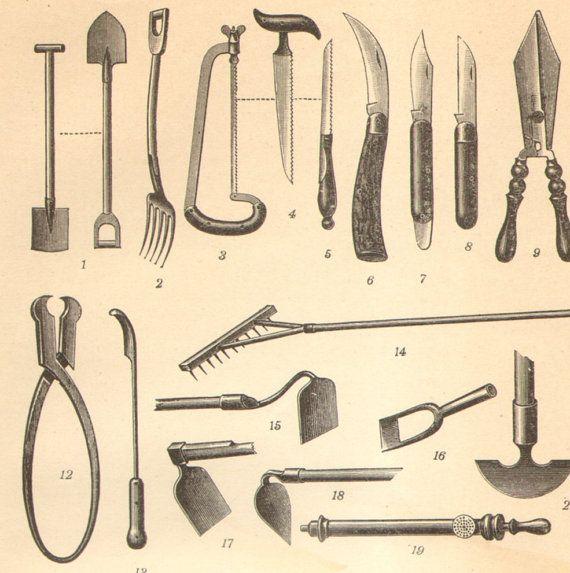 Картинки старинных садовых инструменты