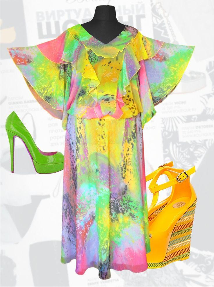 """Купить воздушное шифоновое платье для полных девушек больших размеров р. 50, 52, 54, 56, 58, 60, 62, 64, 66, 68, 70 """"Кокетка"""""""