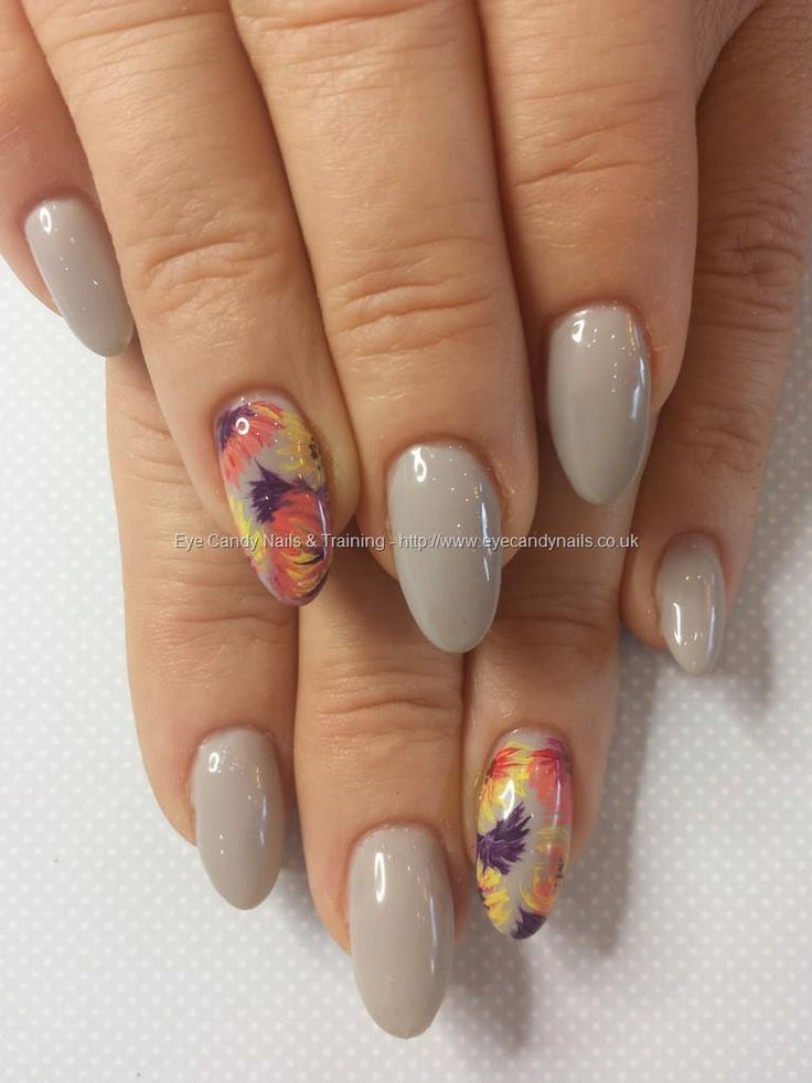 Grey gel polish over gel nails with freehand flower nail art