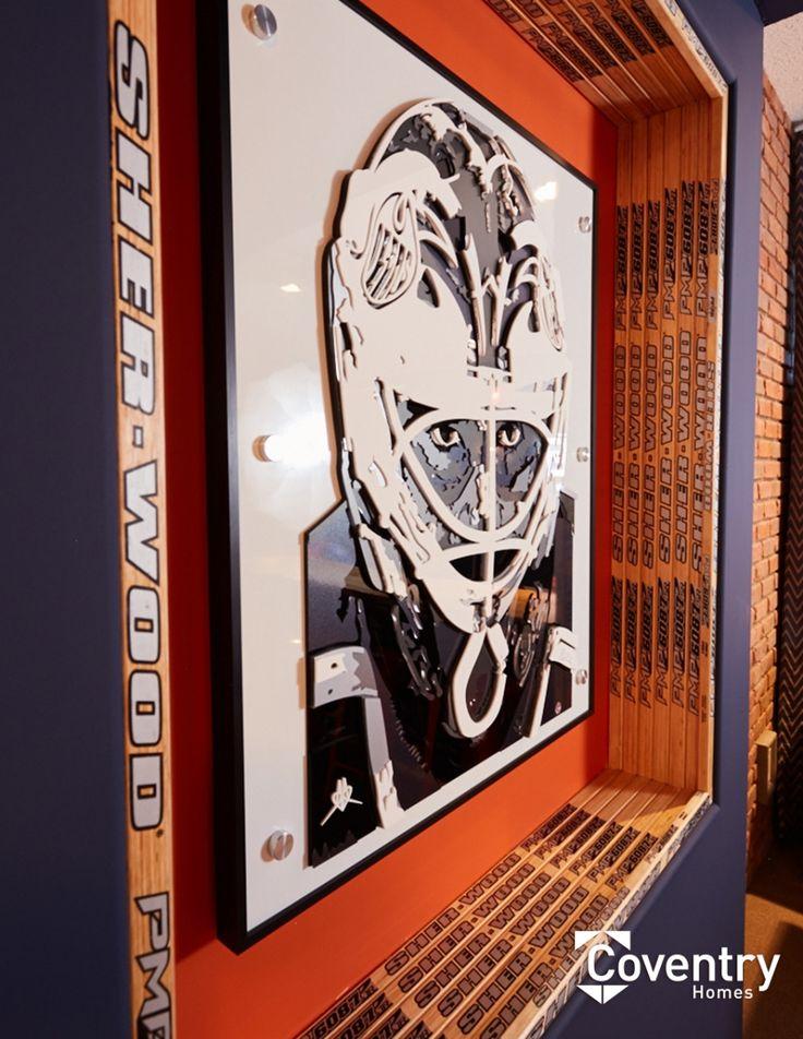 Coventry Homes Oilers Fan Cave - custom hockey art - Newcastle showhome
