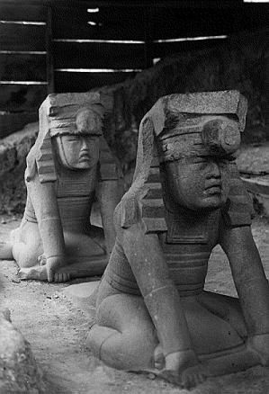 Olmec Twins, El Azuzul (near San Lorenzo), Veracruz, Mexico. There is a likely connection between the twin symbolism in Olmec religion and the Maya Popol Vuh.