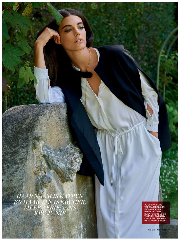 Katryn Kruger wears our black Melton Cape & grey Dita Dress in the latest issue of Rooi Rose Magazine!