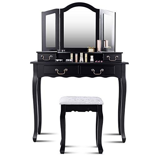 Giantex Vanity Table Set with Stool Bedroom Chic Makeup Tri-Folding  Dressing Mirror Organizer Cushioned Chair Wooden Legs Women Girl Fold Desk  Vanity w  4 ... 71e802421c
