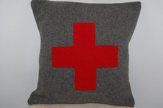 CUSTOM Woolen Colors Red Cross Square Throw Pillow First Aid Army Military Handmade Upcycled Vintage Pendleton Wool Blanket 14 x 14 on Etsy, $25.00