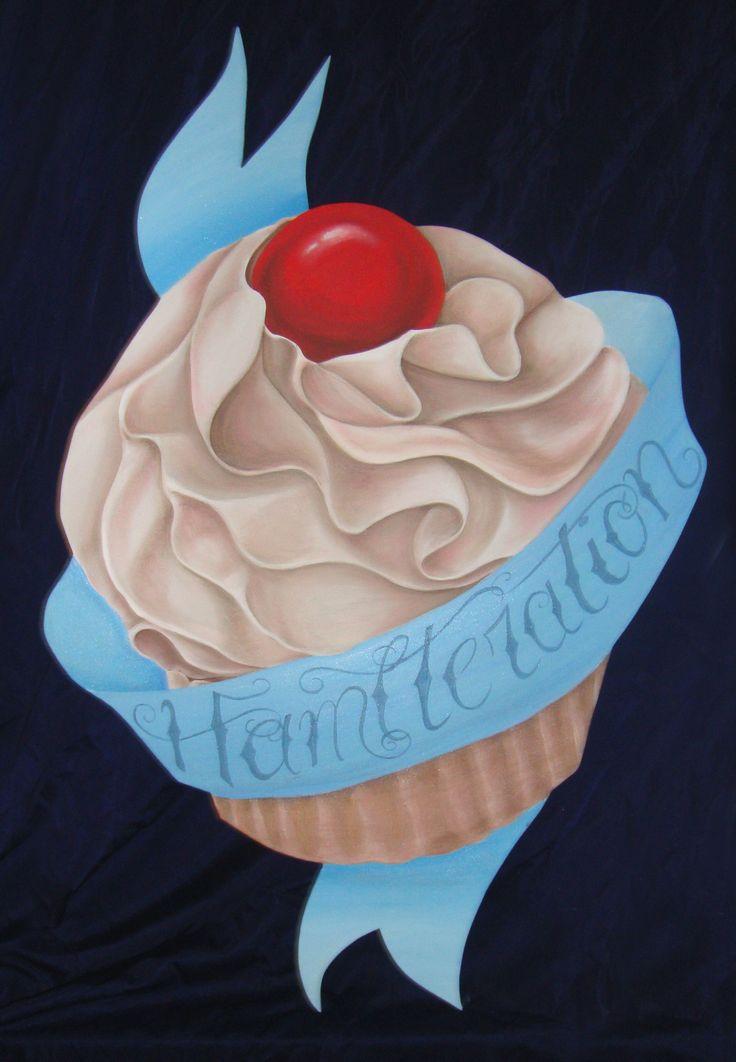Cupcake dipinto su compensato sagomato.  #cupcake #paintonwood #hamalteration #letizialugli