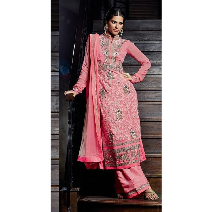 Pink Georgette Party Wear #Sharara With Dupatta- $77.24