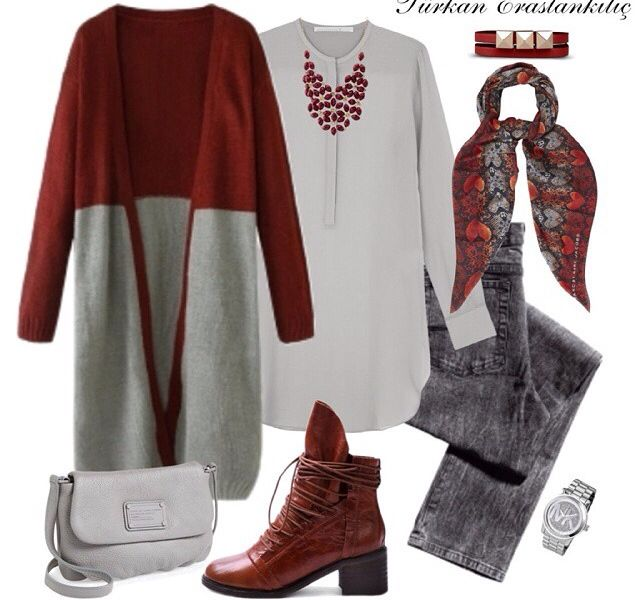 Grey pants, grey shirt, burgundy/grey cardigan, printed scarf, burgundy shoes, watch, burgundy necklace
