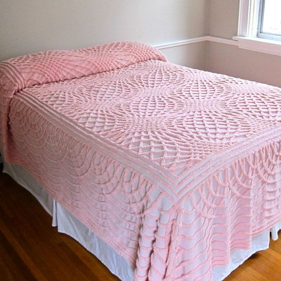 Chenille Bedspread in Graphic Pink Pattern | Graphics ...