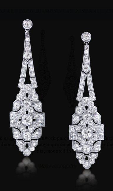 A PAIR OF ART DECO DIAMOND EAR PENDANTS, CIRCA 1920, Designed as graduated openwork palques set with old European and rose-cut diamonds, weighing approximately 9-10 cts, to the diamond surmounts, mounted in platinum.