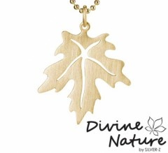 """Maple""  14 k gold plated sterling silver pendant. Gold plated ball chain enclosed the delivery."