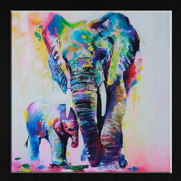 60センチ水彩ゾウインクジェット縁なしのキャンバスアート絵画油カラフルな現代抽象絵画アートワーク塗装壁の装飾
