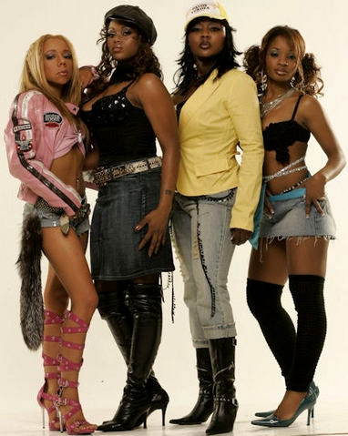 "Xscape, female R+B quartet consisting of (l-r) Tameka ""Tiny"" Cottle, sisters Tamika Scott & LaTocha Scott, and Kandi Burruss. The group had a string of hit songs during the 1990s, including Just Kickin' It, Understanding, Is My Living in Vain, Feels So Good, Who Can I Run To, The Arms of the One Who Loves You, My Little Secret and Can't Hang. They have also appeared on Sunset Park, Love Jones, Soul Food, Panther, Bad Boys, The Mask, Big Momma's House and Hardball movie soundtracks."