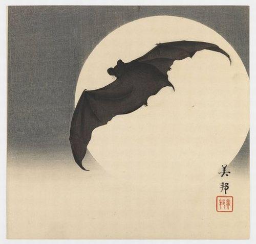 Biho Takashi, Bat before the Moon, ca. 1910, via the Brooklyn Museum and Animalarium