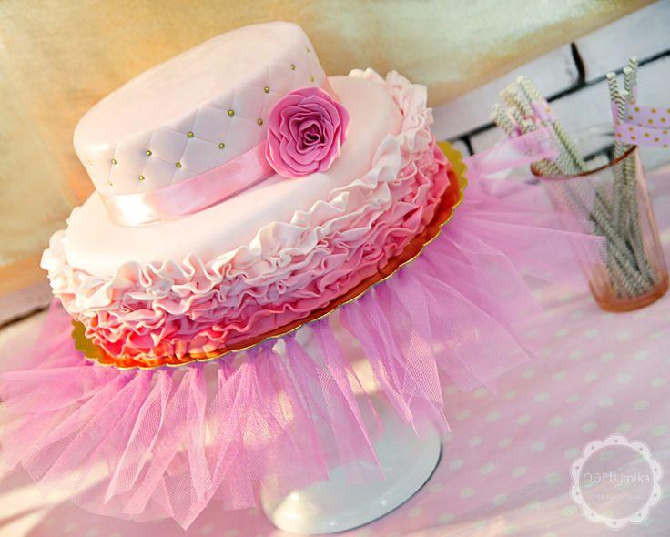 Ombre tort księżniczkowy różowy w falbanki