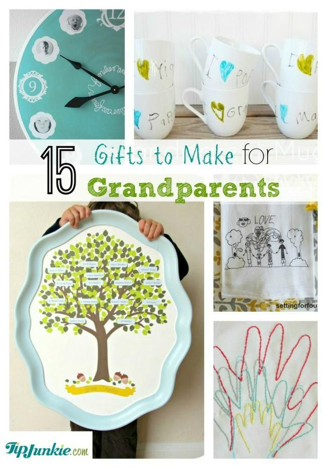 hese home made gifts are perfect for grandma and grandpa and include pictured tutorials for a family tree, photo coasters, photo ornament, tea towel art, snow globe, mugs and handprint art!