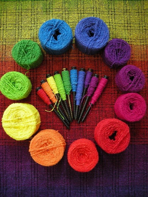 The color wheel as created by Kathrin Weber, weaver and dyer.