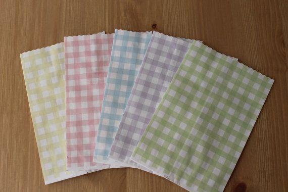 Sacchetti carta Kraft quadretti. Chequered paper bag. di PickaPack