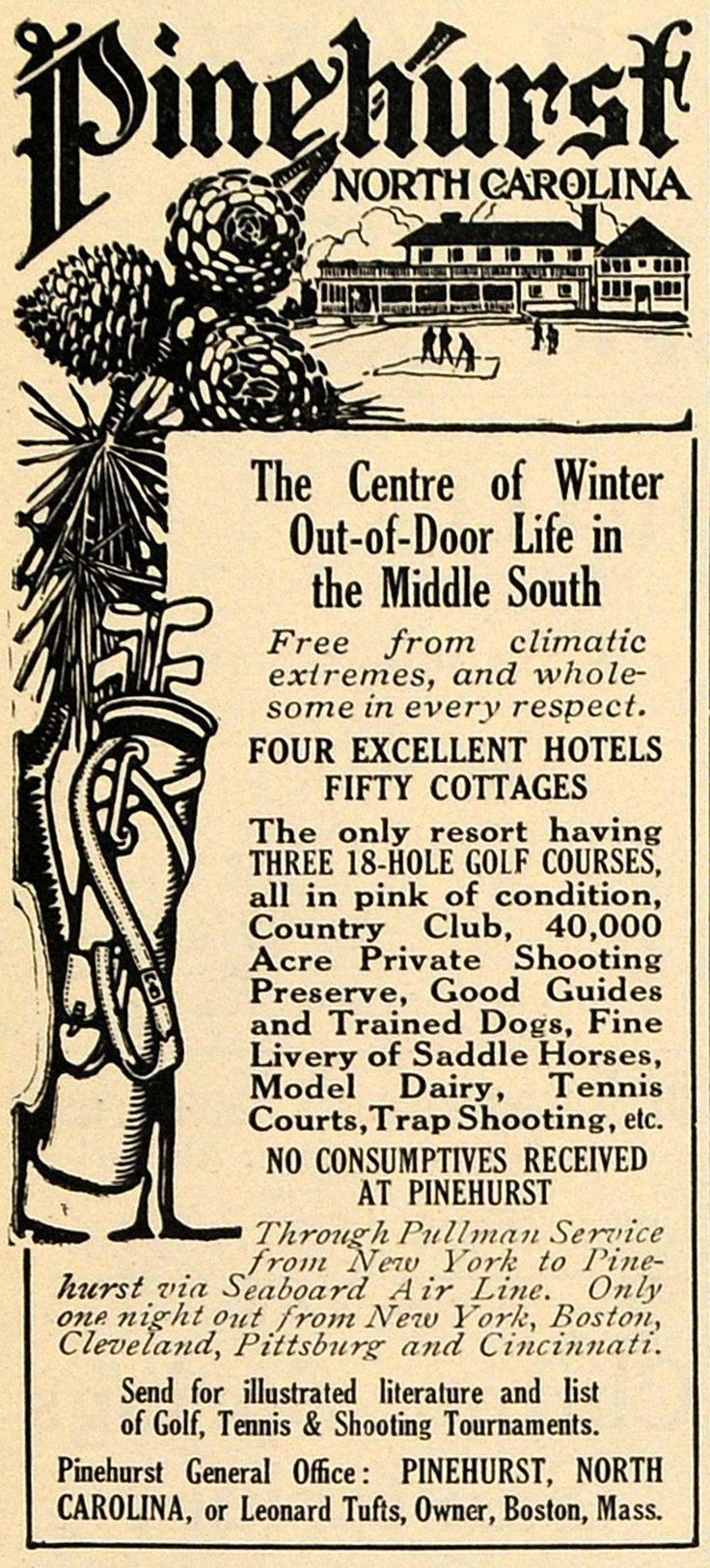 1911 Ad Pinehurst Resort Golf Country Club Horse Dogs - ORIGINAL TOM1