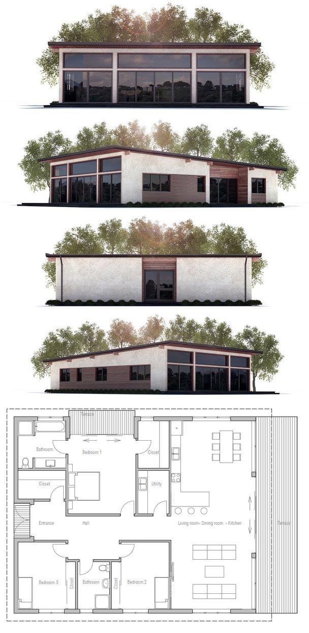 225 best casa images on Pinterest House blueprints, Small houses - plan maison plain pied 80m2