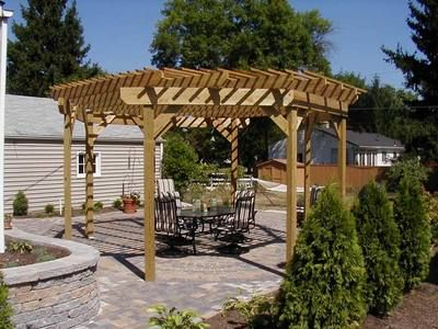 free standing pergola octagon shape patio designs and hardscapes photo gallery archadeck - Free Pergola Designs For Patios