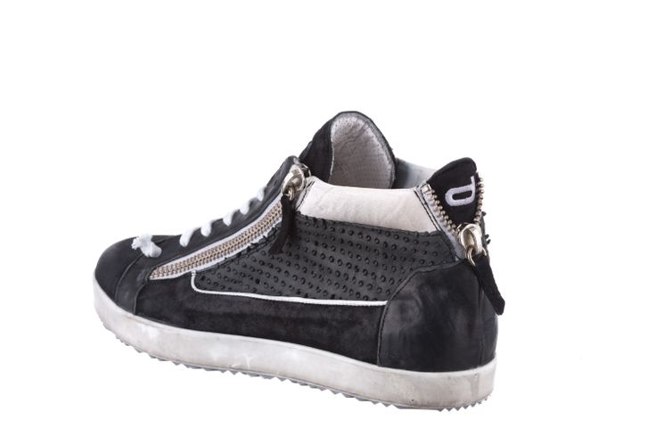 HI-TOP SNEAKER IN FULL BLACK/IRON LEATHER WITH ZIP #Corvari #shoesofthemonth #ss2014 #sneakers