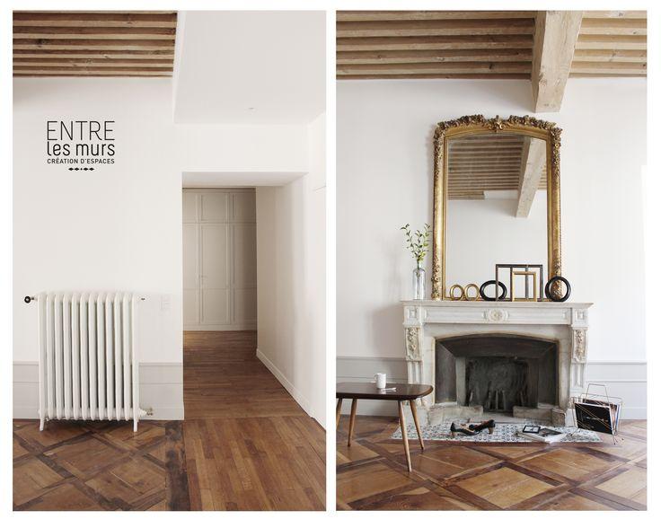 cheminée / carreaux de ciment / rénovation agence EntreLesMurs Annecy