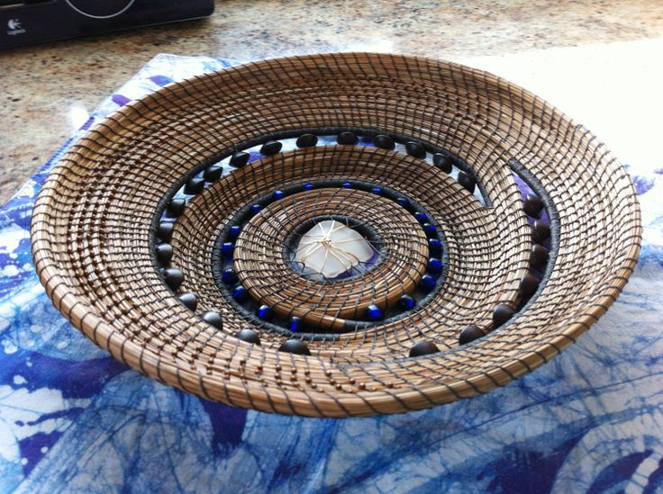 pine needle coiled basket, with cobalt and vintage wooden beads. Sea glass center (by www.kimizone.com)